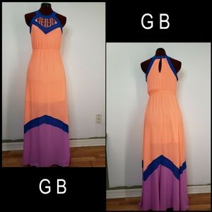 Gb Women Halter Long Maxi Dress Size XS Orange